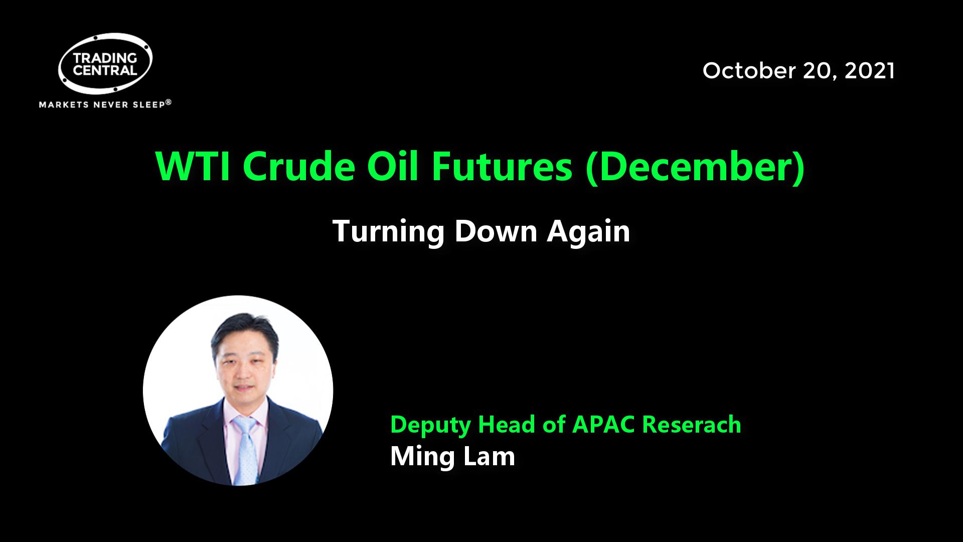 WTI Crude Oil Futures (December) - Turning Down Again