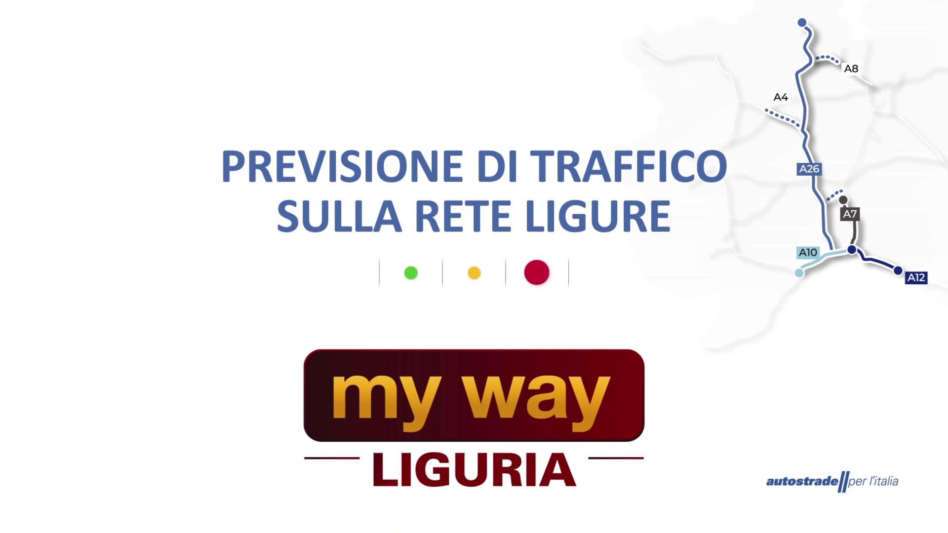 Le previsioni del traffico sulla rete autostradale della Liguria per la giornata di domenica 11 aprile