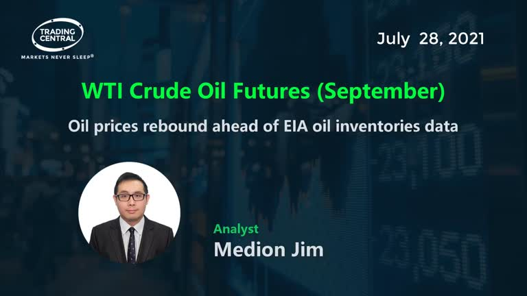WTI Crude Oil Futures (September): Oil prices rebound ahead of EIA oil inventories data