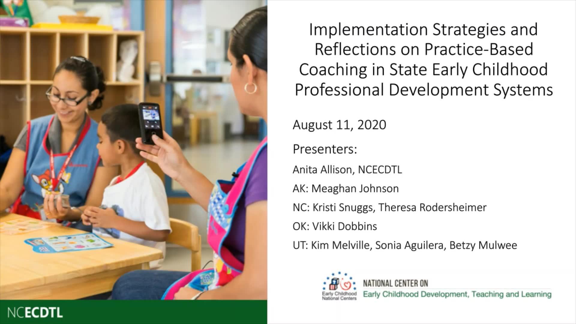 Estrategias de implementación y reflexiones sobre el PBC en los sistemas estatales de desarrollo profesional en la primera infancia