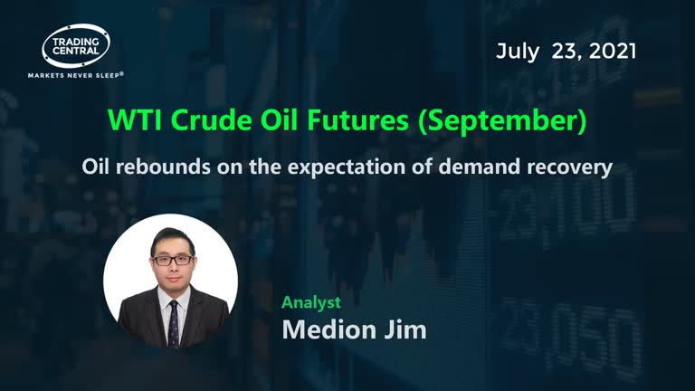 WTI Crude Oil Futures (September): Oil rebounds on the expectation of demand recovery