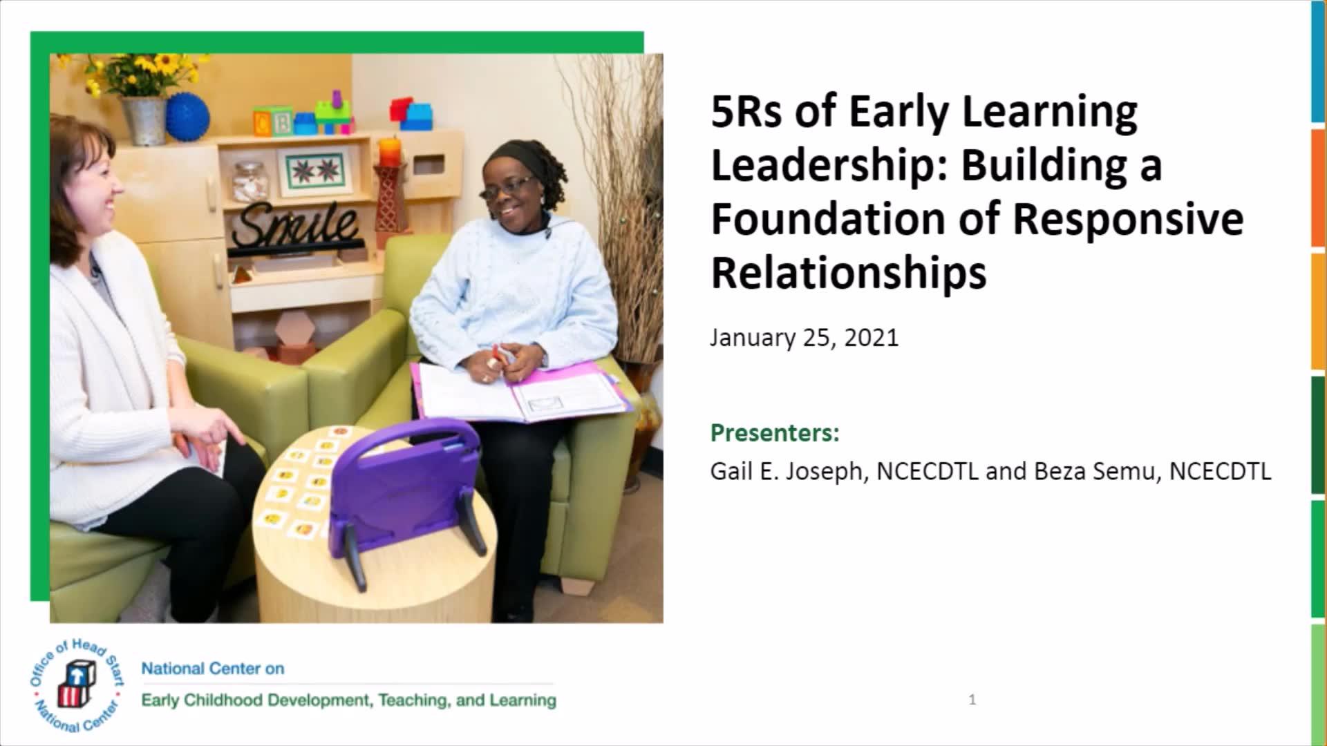 Las 5 erres del liderazgo en el aprendizaje temprano: Creación de una base de relaciones receptivas
