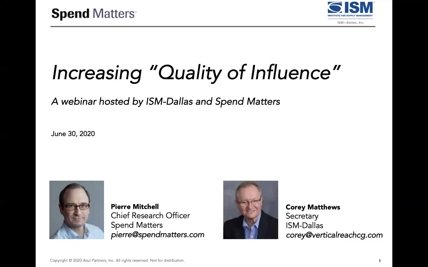 "Strategies to Increase Procurement ""Quality of Influence"" and Spend Under Management slide image"