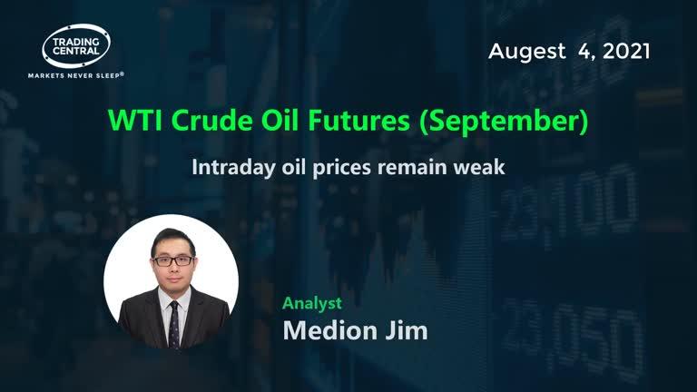 WTI Crude Oil Futures (September): Intraday oil prices remain weak