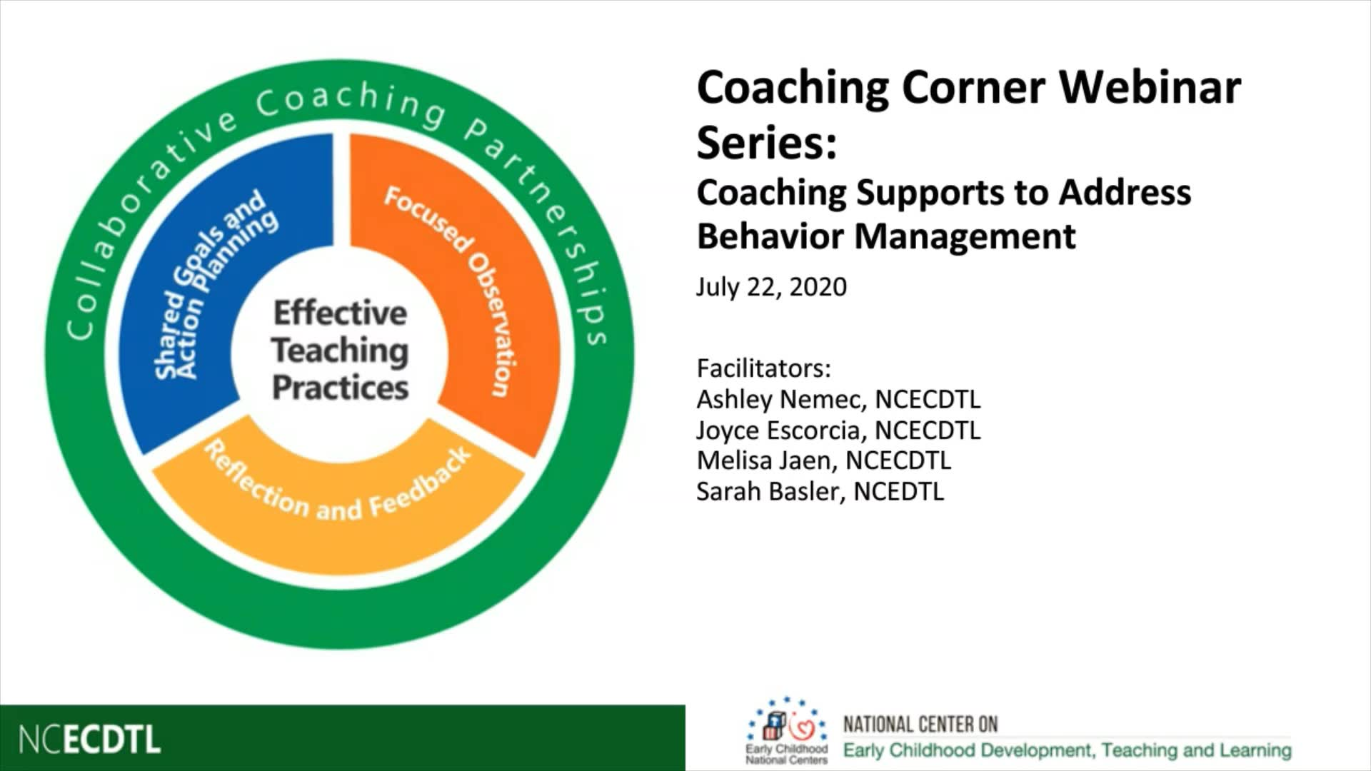 Coaching Supports to Address Behavior Management