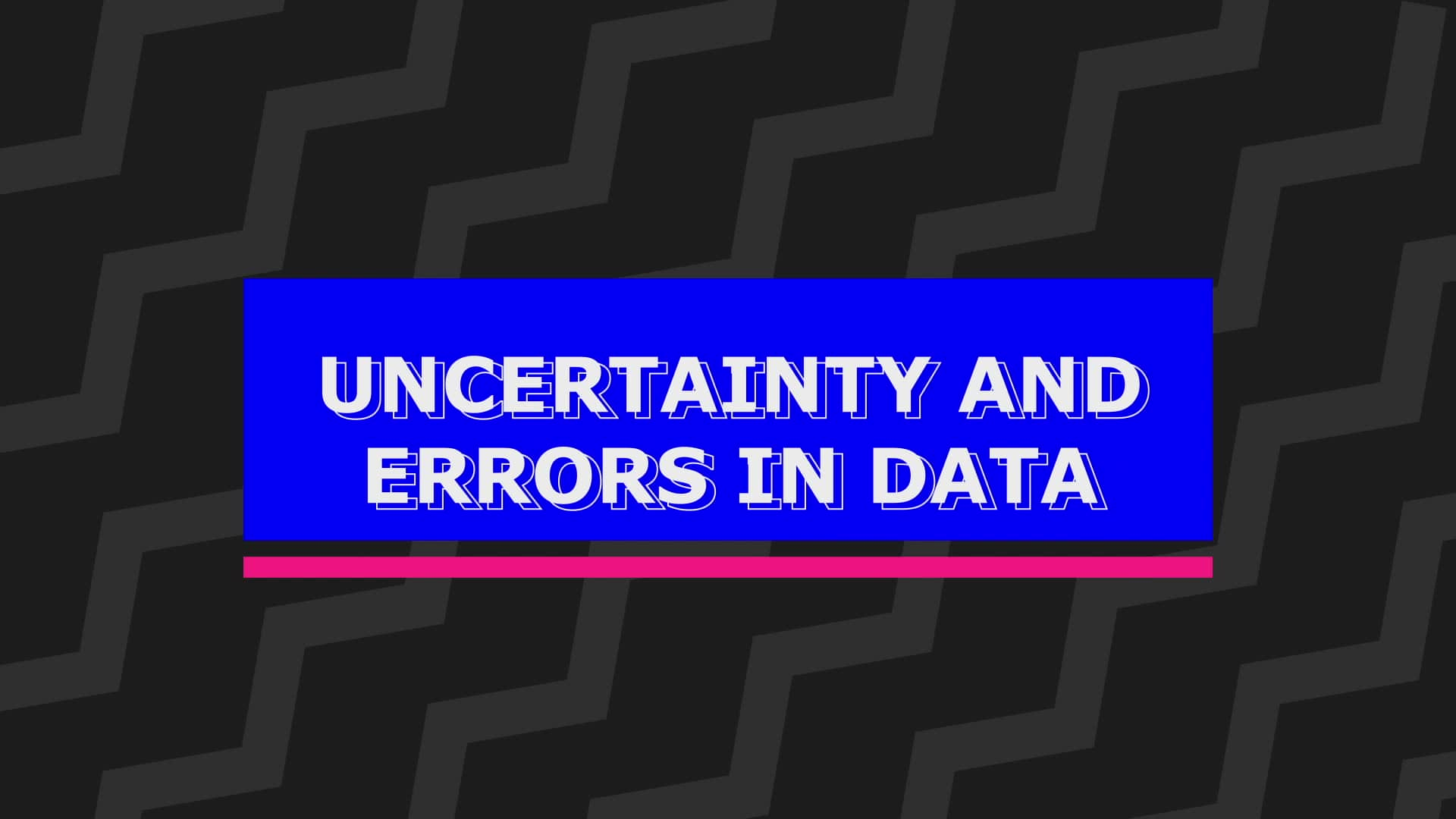 Introduction to uncertainty and errors in data