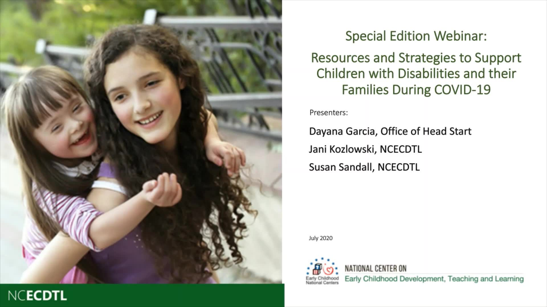 Resources and Strategies to Support Children with Disabilities and Their Families During COVID-19