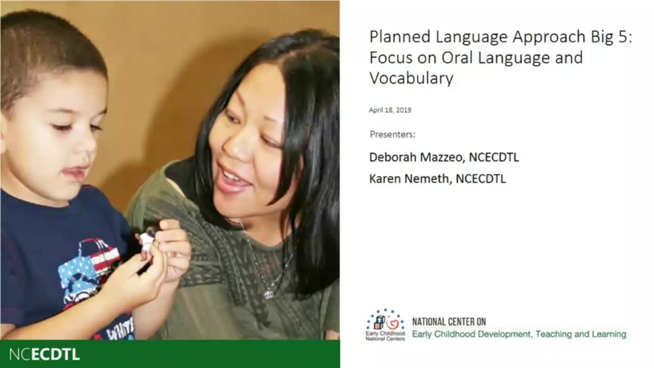 Focus on Oral Language and Vocabulary