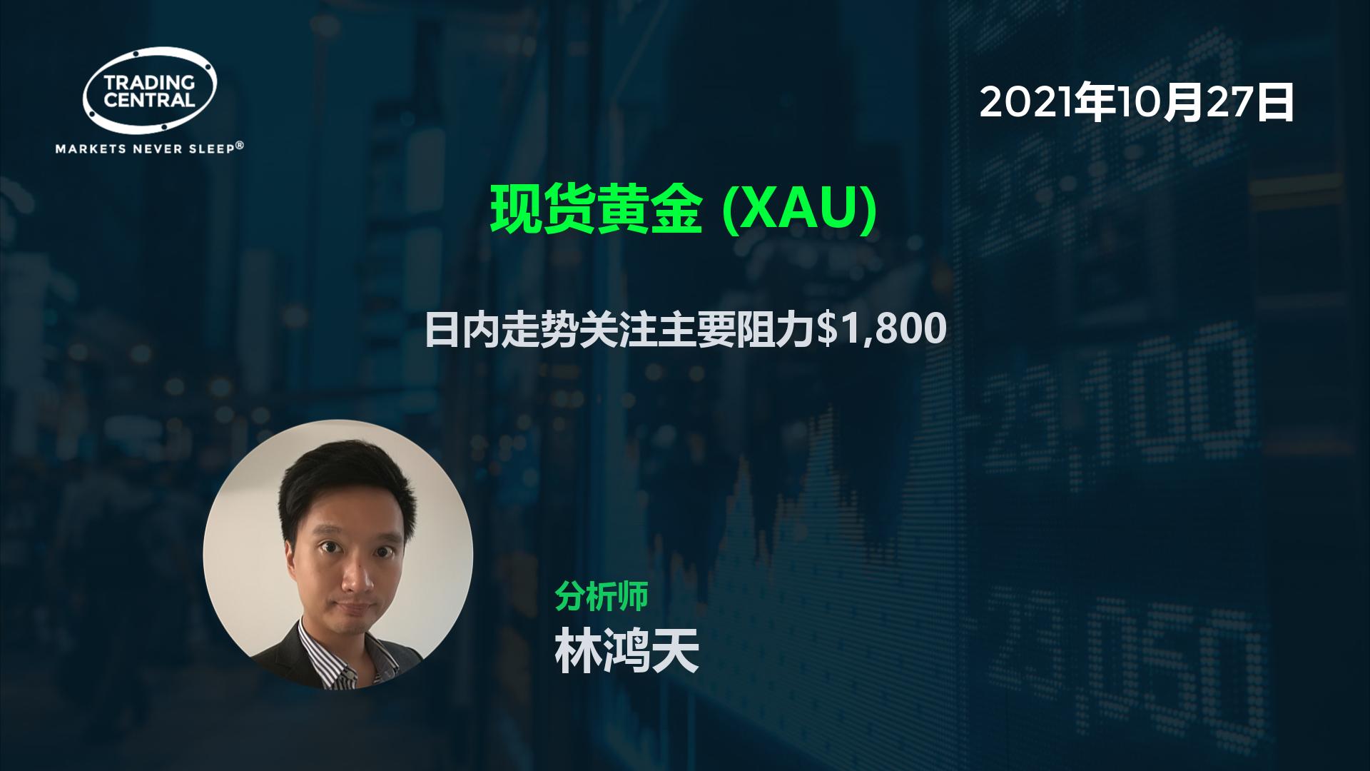 现货黄金 (XAU) - 日内走势关注主要阻力$1,800