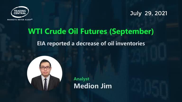 WTI Crude Oil Futures (September): EIA reported a decrease of oil inventories