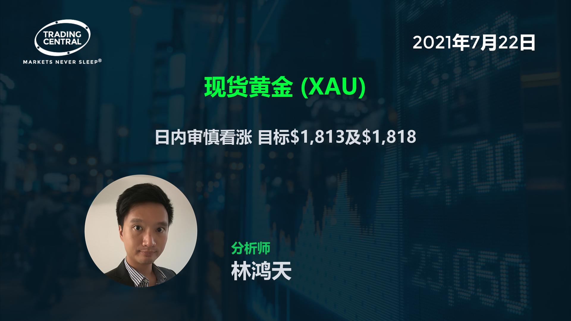 现货黄金 (XAU) - 日内审慎看涨 目标$1,813及$1,818