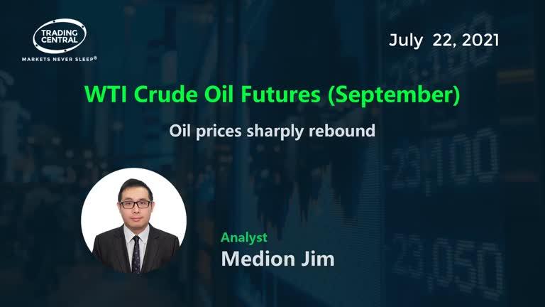 WTI Crude Oil Futures (September): Oil prices sharply rebound