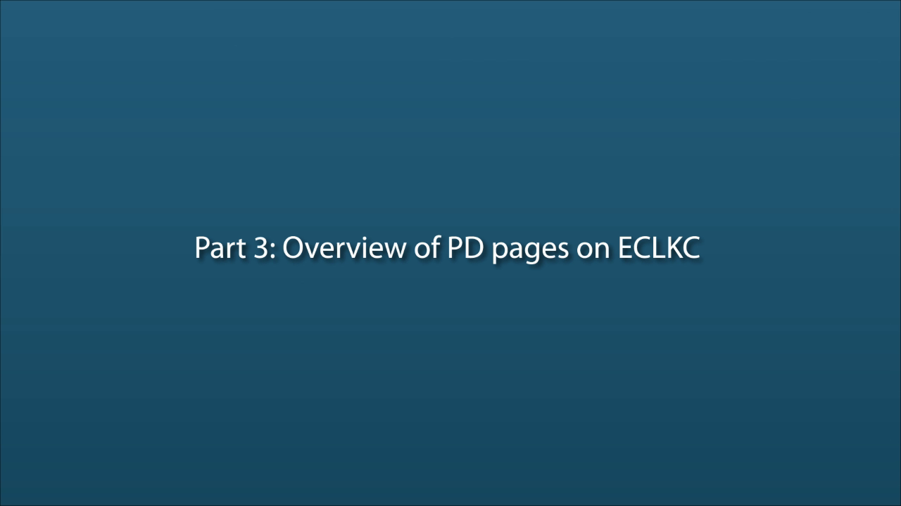 Part 3: Overview of the Professional Development Pages