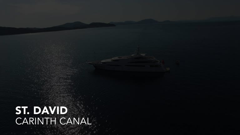 M/Y St. David and her crew pass the Corinth Canal