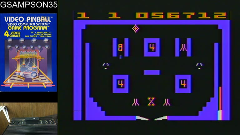 Atari 2600 / VCS - Video Pinball - NTSC - Game 1, Difficulty B - 43,900,590 - glen sampson