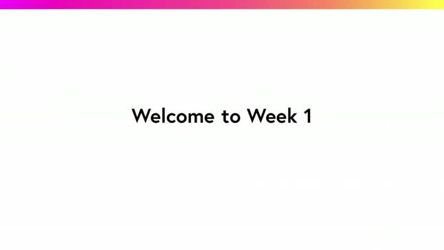 Welcome to Week 1