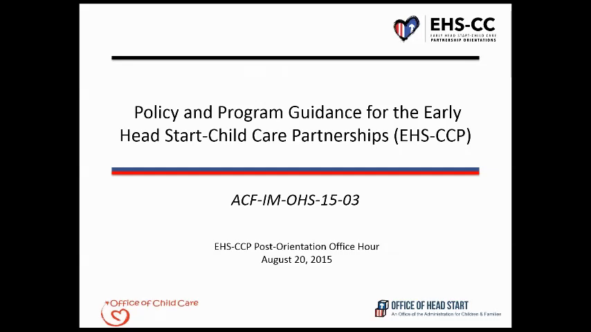 Policy and Program Guidance for the EHS-CC Partnerships