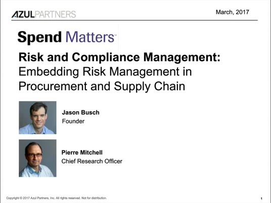 Risk & Compliance Management - Embedding Risk Management in Procurement and Supply Chain slide image