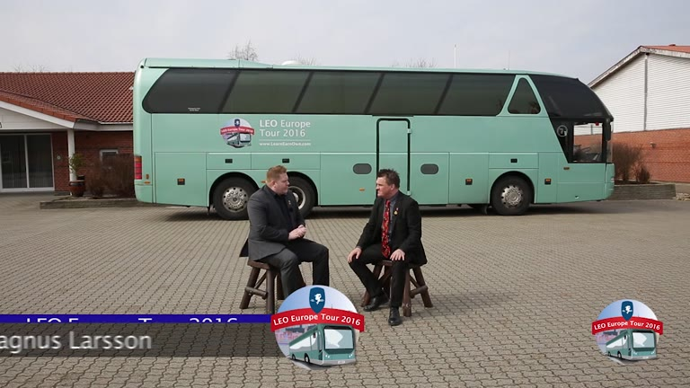 Magnus Larsson and Per Karlsson review the bus tour