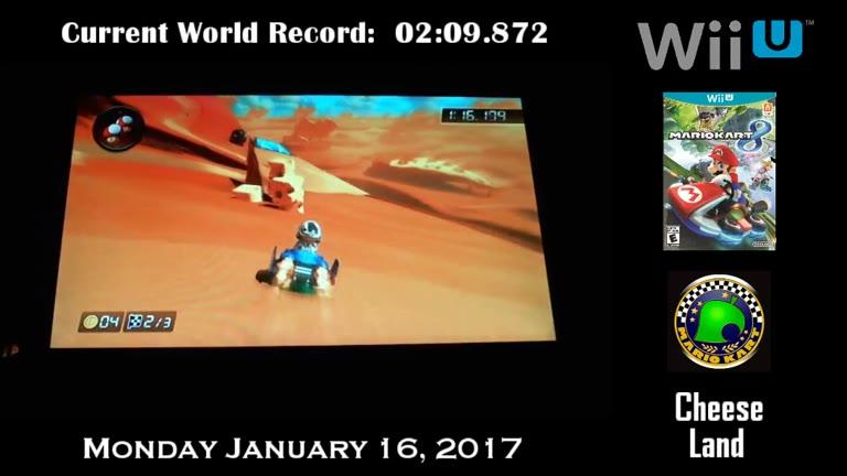 Nintendo Wii U - Mario Kart 8 - Time Trials - Retro - [DLC] Cheese Land - [Fastest Race] - 02:07.843 - Derek Ruble