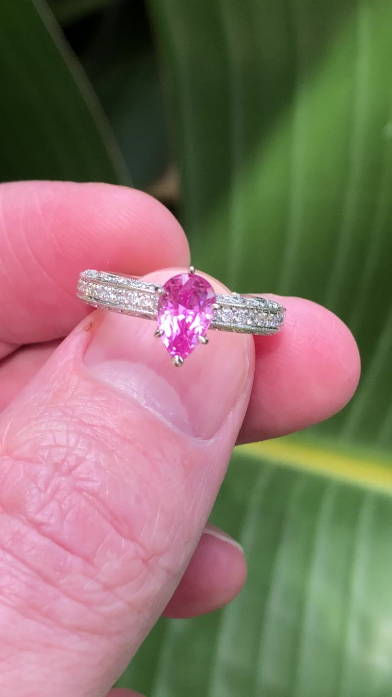 1.41 ct Untreated Pink Sapphire Ring, GIA 14kt Pear cut Ceylon ...