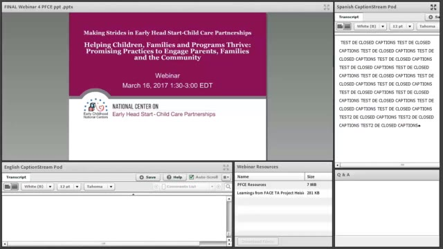 Helping Children, Families, and Programs Thrive: Promising Practices to Engage Parents, Families, and the Community