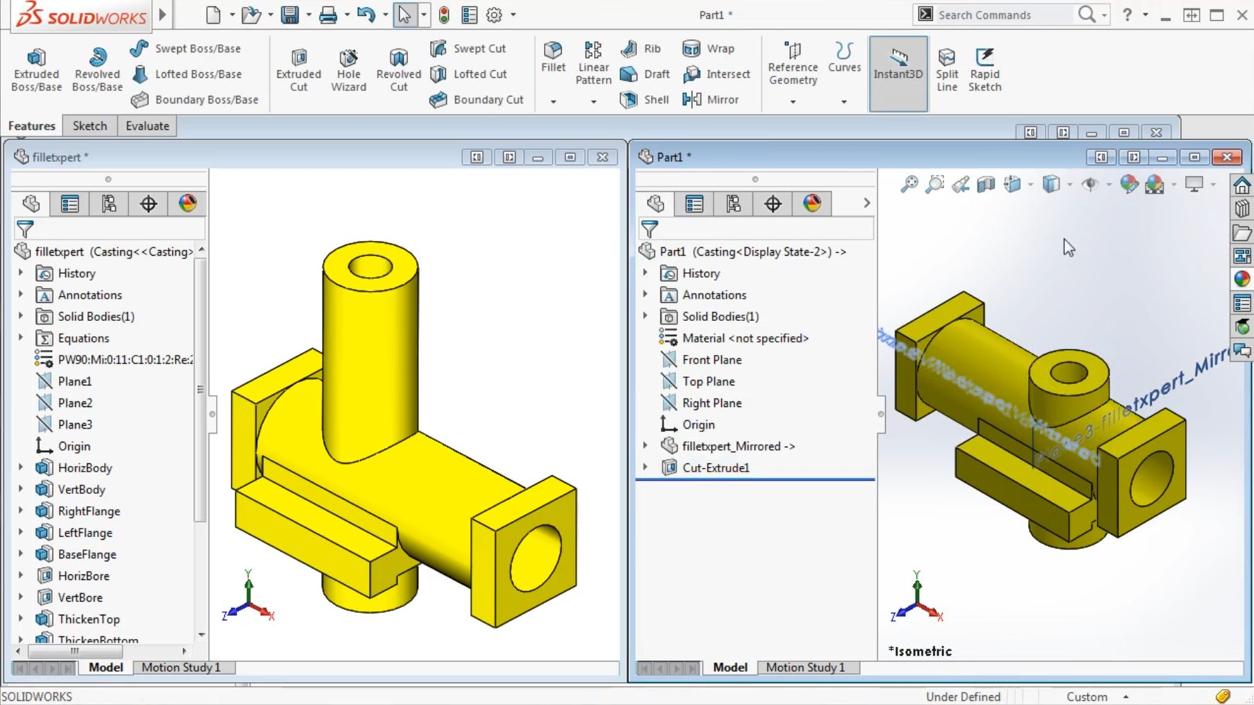 How to Mirror a Part and Discard the Original in SOLIDWORKS