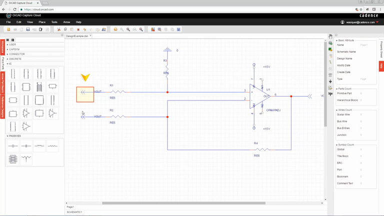 OrCAD Capture Cloud- Drawing a schematic on