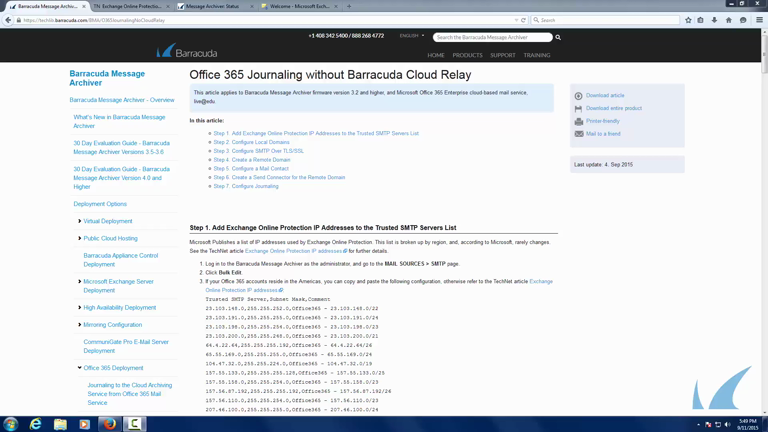 Barracuda Essentials for Office -  Journaling to Barracuda Message Archiver