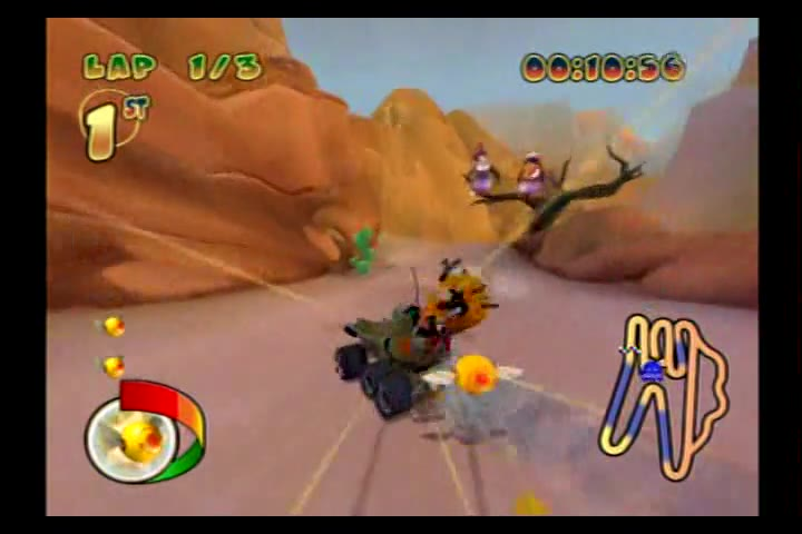 PlayStation 2 - Pac-Man World Rally - NTSC - Time Trial Mode - Grape Cup - Canyon Crusade [Fastest Race] - 03:17.4 - Fred Bugmann