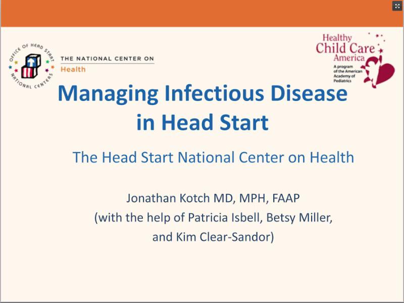 Managing Infectious Disease in Head Start Webinar | ECLKC