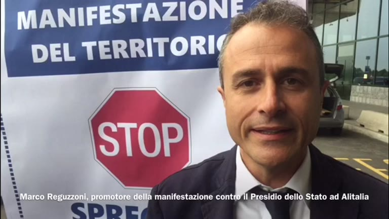 Video: In cinquanta con Reguzzoni per dire no al prestito ad Alitalia