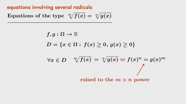 Equations with several radicals