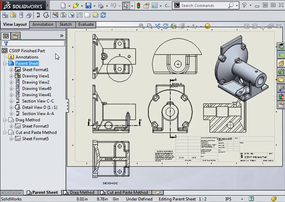 How to move Drawing Views between Sheets in SOLIDWORKS - CAD